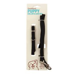 Great&Small Puppy/Small Breed Collar & Lead Set Black