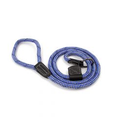 Great & Small Rope Slip Lead Blue With Leather