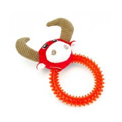 Little&Lively Plush Red Bull with TPR Ring