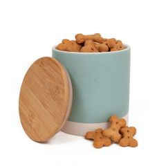 Great&Small Teal Stoneware Jar with Bamboo Lid
